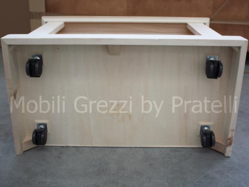 Mobili Porta TV Grezzi, Mobile Tv Grezzo Basic con Ruote