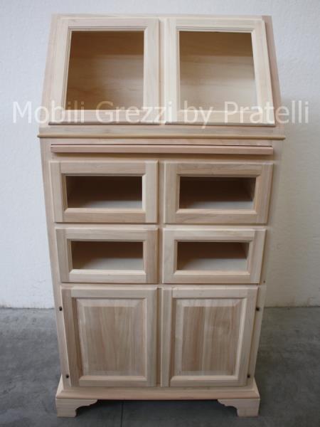 Dispensa in legno grezzo da dipingere