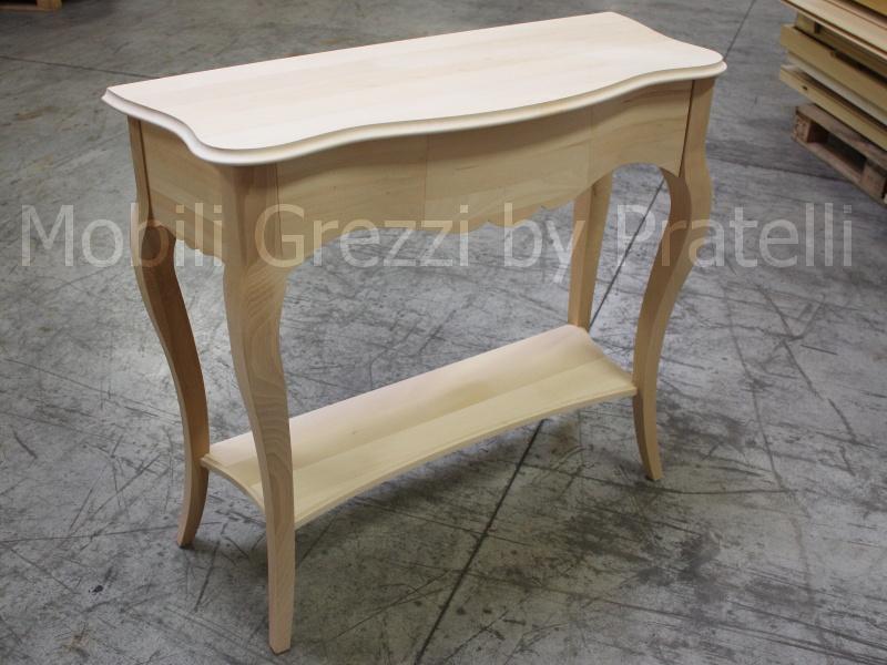 Consolle grezze consolle bombata grezza con ripiano - Mobili in legno grezzo da dipingere ...