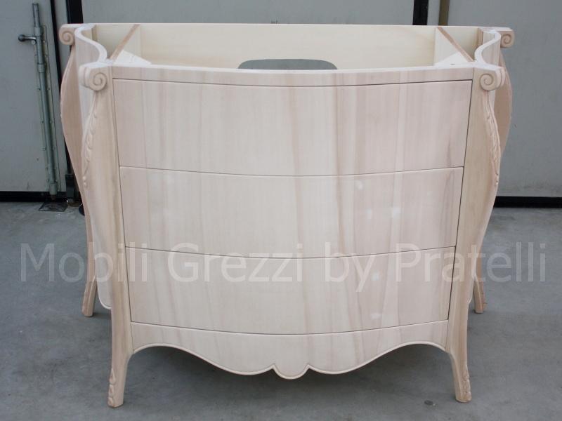 Mobili bagno grezzi mobile bagno barocco grezzo a 3 - Mobile bagno legno grezzo ...