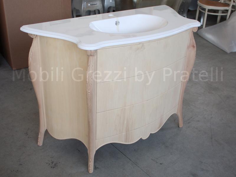 Mobili bagno grezzi mobile bagno barocco grezzo a 3 cassetti con intagli - Mobili bagno in legno grezzo ...