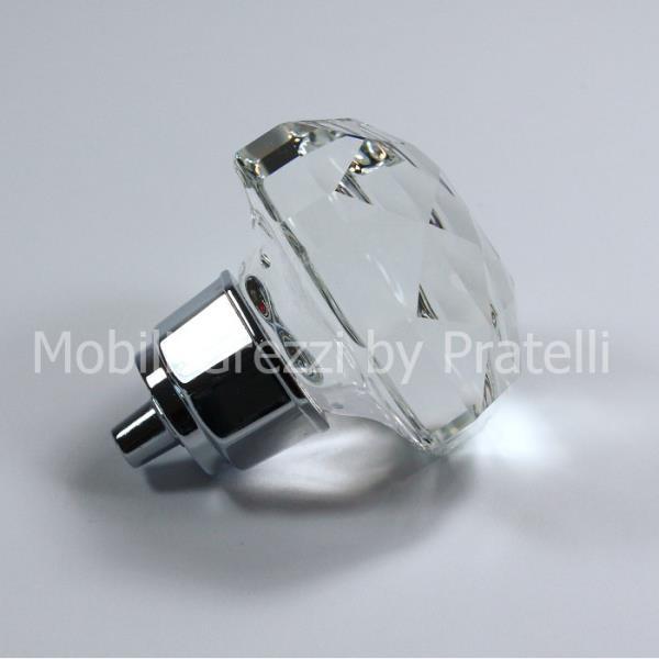 Pomello moderno in argento con cristallo