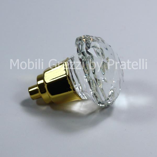 Pomello cromato oro lucido con cristallo