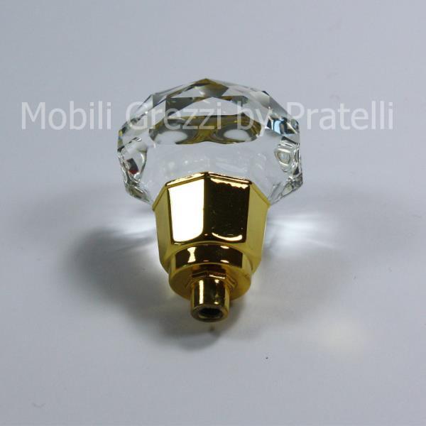 Pomello con base color oro e cristallo a forma di fiore
