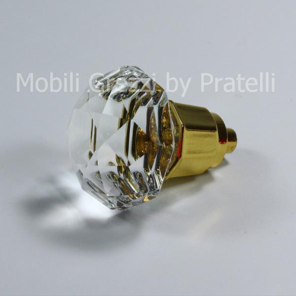 Pomello color oro con fiore in cristallo