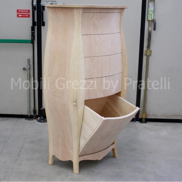 Mobili Bagno Grezzi , Settimino Bombato Grezzo con Cassettone