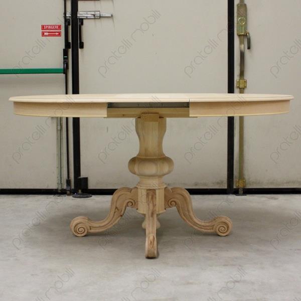 Tavoli grezzi tavolo rotondo grezzo allungabile gamba centrale intagliata - Tavolo rotondo con piede centrale ...