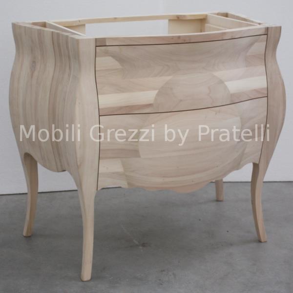 Mobili Bagno Grezzi , Mobile Bagno Bombato Grezzo Massello L 95 Cm