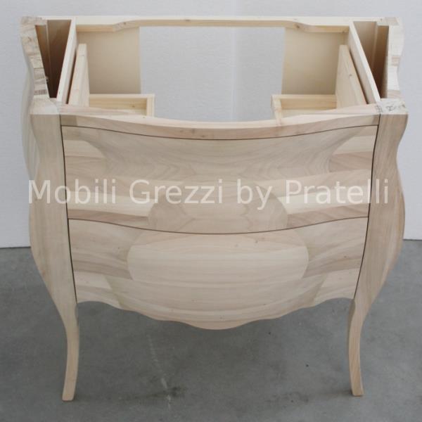 Mobile Bagno Barocco Grezzo Legno Massello