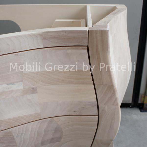Mobile Bagno Grezzo Cassetti Curvi