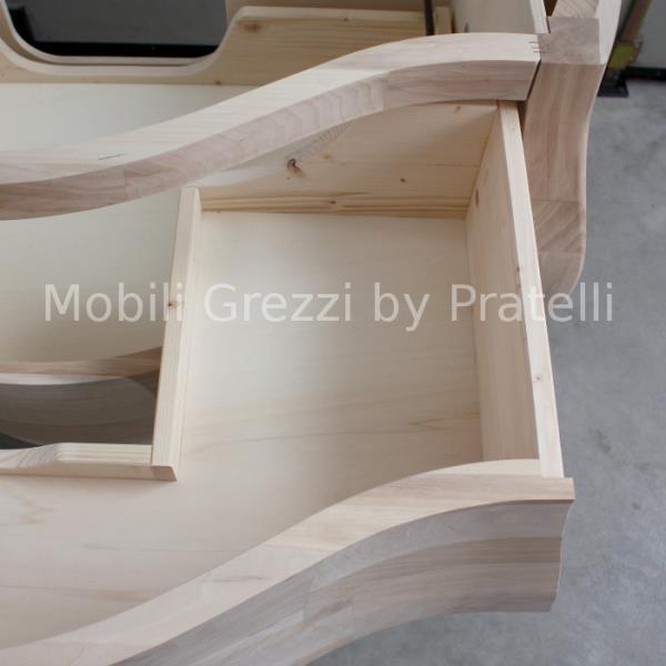 Mobile Barocco Grezzo Legno Massello