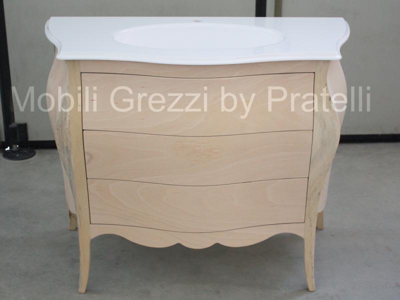 Mobili bagno grezzi bagno barocco bombato grezzo - Mobile bagno legno grezzo ...