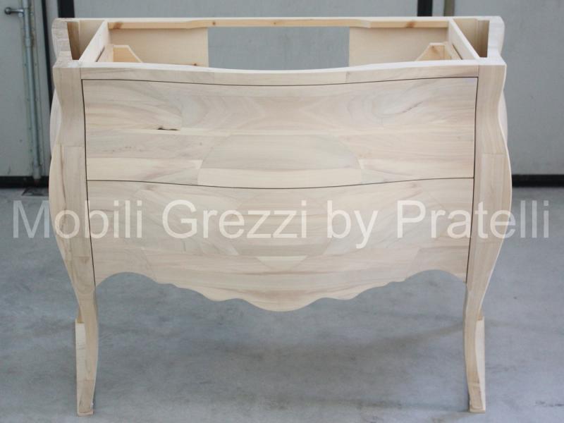 Bagno Grezzi Mobile Bagno Bombato 3 Cassetti Legno Massello Grezzo ...