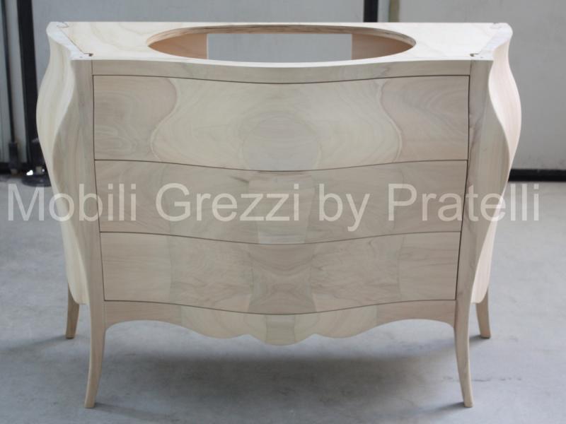 Mobili Bagno Grezzi , Mobile Bagno Bombato 3 Cassetti Legno Massello Grezzo