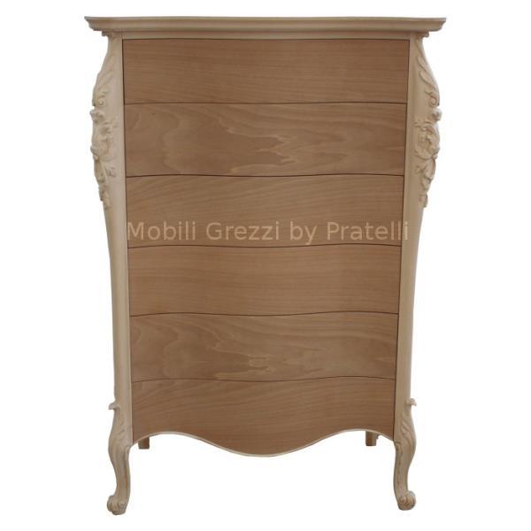 Cassettiera grezza legno massello e multistrato