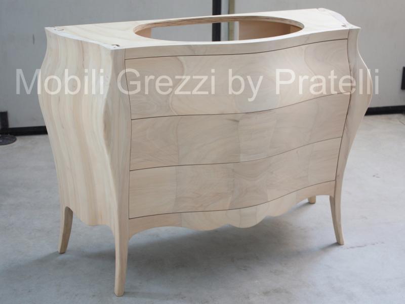 Mobili bagno grezzi mobile bagno bombato 3 cassetti - Mobile bagno legno grezzo ...