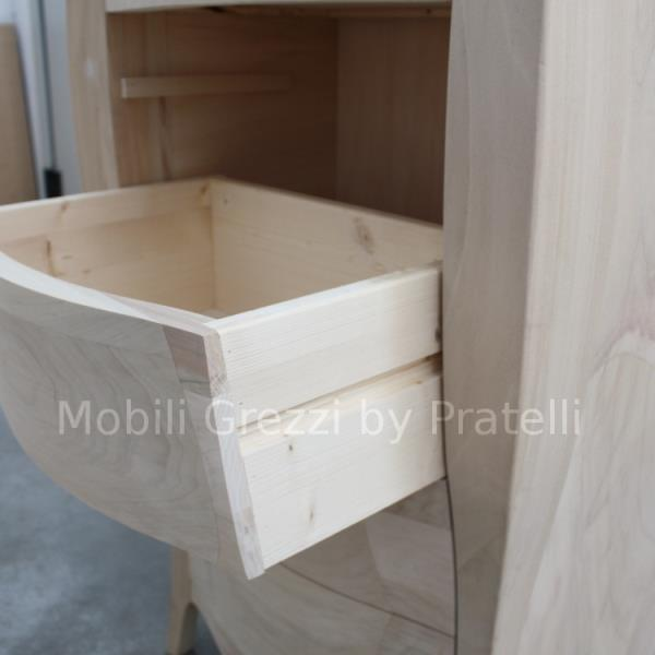 Mobile Grezzo con Cassetti in Legno Massello