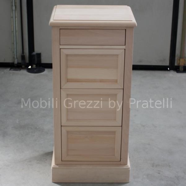 Cassettiera Grezza Legno Massello