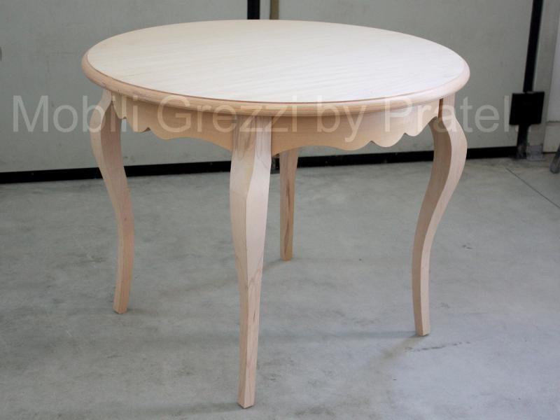 Tavoli grezzi, tavolo rotondo allungabile grezzo