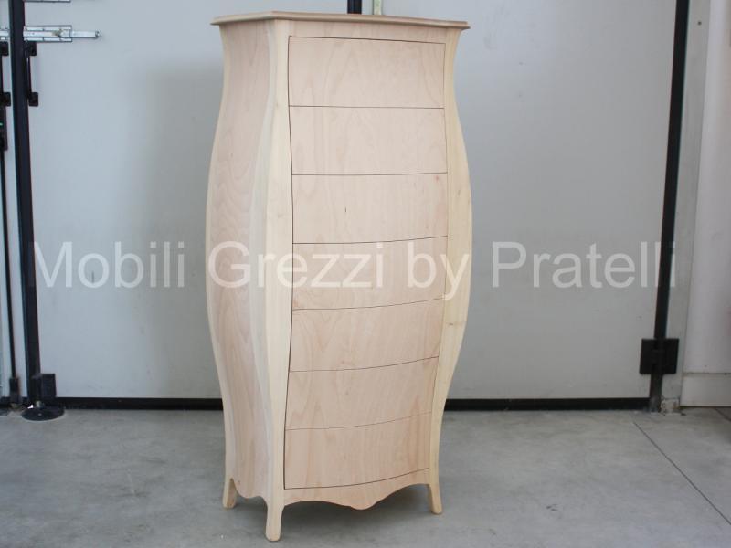 Cassettiera Bombata Grezza